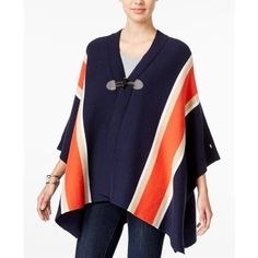 Tommy Hilfiger Striped Cape, ($130) ❤ liked on Polyvore featuring outerwear, masters navy multi, cape poncho, poncho cape, poncho cape coat, tommy hilfiger and blue cape