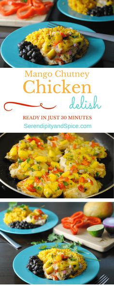 This Mango Chutney Chicken Recipe Is A Little Bit Sweet, A Little Bit Savory, And A Whole Lot Of Deliciousness Ready In About 30 Minutes It Makes For A Fun Weeknight Meal.Serve With Rice And Beans For A True Tropical Escape. Http:Serendipityandspi Mango Chutney Chicken, Healthy Recipes, Fast Recipes, Delicious Recipes, Mango Recipes, Healthy Meals, Healthy Food, Healthy Eating, Cooking Recipes