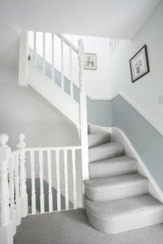 Dado rail hallway and stairs - grey below and white above Loft Room, Bedroom Loft, Grey Hallway, Dado Rail Hallway, Grey Carpet Hallway, Gray Carpet, Grey Stair Carpet, Grey Carpet Bedroom, Neutral Carpet