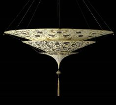 The Fortuny Scheherazade with three tiers. Handpainted silk, so beautiful! Made by Venetia Studium in Venice Fortuny Lamp, Green Paintings, Dramatic Lighting, Light Fittings, Light Fixtures, Brown Floral, Fabric Shades, Interior Lighting, Wall Lighting