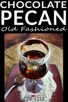 Chocolate Pecan Old Fashioned Cocktail. For this cocktail, I was thinking of something a little crazy with nutella and crushed toasted nuts on the rim of the glass, a little kitschy but the kids would think that was fun, and they can help put the nuts on the outside of the glass. It'll be a little project for the kids at 4 pm!  @cocktailcontessa #bourboncocktails #wintercocktails #holidaycocktails #craftcocktails #oldfashionedcocktails #wintercraftcocktails #holidaycraftcocktails Chocolate Bourbon, Chocolate Liqueur, Chocolate Flavors, Bourbon Cocktails, Winter Cocktails, Craft Cocktails, Whiskey Smash, Whiskey Sour, Old Fashioned Glass