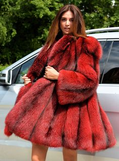 Red dyed fox fur jacket
