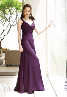 2a337afc307 Simple Grape A-line V-Neck Satin Evening Gown on sale