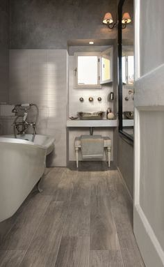 "Wood Look Ceramic Tile Bathroom . Wood Look Ceramic Tile Bathroom . 15 Bathrooms that Have Been Transformed with ""wood"" Tile Wood Look Tile Bathroom, Best Bathroom Flooring, Diy Flooring, Small Bathroom, Flooring Ideas, Bathroom Ideas, Bathroom Grey, Bathroom Remodeling, Bathroom Designs"