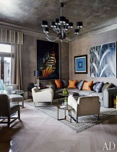 The legendary Gritti Palace hotel, occupys a 15th-century palazzo on the Grand Canal. The Donghia Suite, an homage to decorator Angelo Donghia, the firm's founder, features a silver-leafed ceiling, Venetian-stucco walls, and a bleached-and-lacquered herringbone floor. The chandelier and seating are all by Donghia; the two large paintings, of the Chrysler Building, are by Bobo Ivancich.