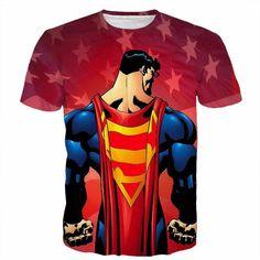 DC Hero Superman Cape Symbol USA Flag Cartoon Theme T-Shirt  #DC #Hero #Superman #Cape #Symbol #USA #Flag #Cartoon #Theme #T-Shirt