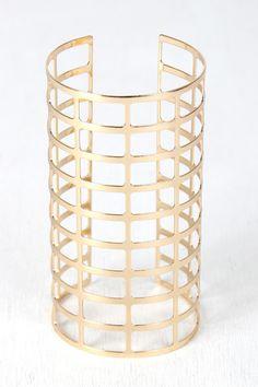 Grid Caged Arm Cuff Bracelet