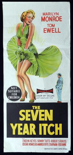 """The Seven Year Itch"" - starring Marilyn Monroe and Tom Ewell. Original vintage Australian daybill movie poster, 1955."