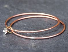 linked bangles: copper, brass and sterling