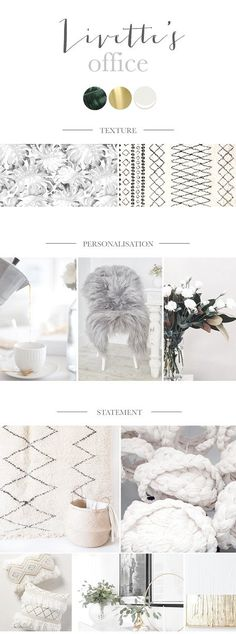 Scandi boho office interior, white with bohemian decors and grey tropical wallpaper