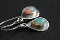 Ethiopian opal earrings  Dangler drop  Opal earrings by Studio1980