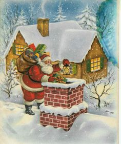 Vintage Christmas Card with Santa Claus getting ready to go down the chimney! (1/2/2014)  Christmas (CTS)