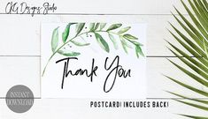 Thank You Cards Baby Shower Printable, Printable Thank You Cards, Thank You Cards Printable, Thank You Cards Greenery, Thank You Postcards Wedding Invitation Suite, Wedding Stationery, Printable Thank You Cards, Thank You Postcards, Baby Shower Printables, Baby Shower Games, Greenery, Handmade Gifts, Shower Ideas