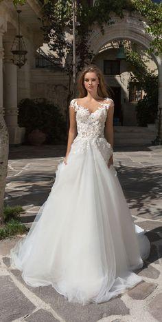 illusion neckline embellishment a line wedding dress #weddingdress #weddingdresses #weddinggown #bridedress