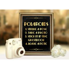Gatsby wedding polaroid guest book sign. Roaring 20s party printable... ($5) ❤ liked on Polyvore featuring home, home decor, wall art, black home decor, gold home decor, gold wall art, polaroid and printable wall art