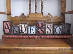 Custom Family Name Sign Word Blocks Great by PunkinSeedProduction