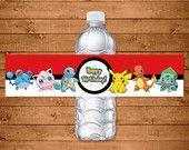 Pokemon Drink Labels Red & White - Pokemon Water Bottle Label - Pokemon Party Favors - Pokemon Printables