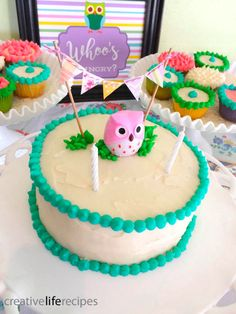 Owl Themed Birthday Party, White Birthday Cake and Buttercream Frosting by Creative Life Recipes