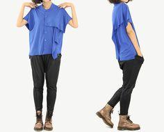 Women shirt Blue Blouse Summer Blouse Irregular by OurLittleDaisy, $69.00