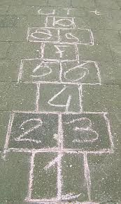 I spent hours playing hopscotch. When playing on the side walk, I used a small chain as my marker because it slid real good. When playing on dirt, I used just the right sized piece of broken glass because it would stick real good. My Childhood Memories, Sweet Memories, Jean Ferrat, Nostalgic Pictures, Good Old Times, Remember The Time, School Memories, Hopscotch, My Memory