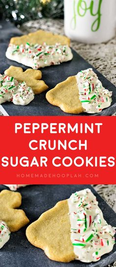 Peppermint Crunch Sugar Cookies! Festive sugar cookies with a twist: dipped in white chocolate and sprinkled with crushed candy canes. And they're only 4 ingredients to make!
