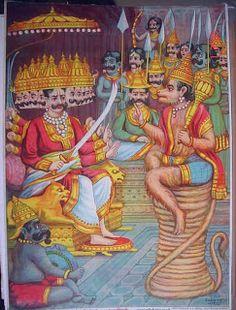 Hanuman in Lanka, captured by Ravana