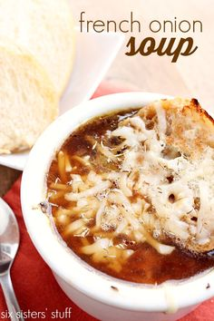 French Onion Soup In the Slow Cooker Love that this soup cooks all day in a slow cooker! It does take some prep work, but the taste is well worth it!
