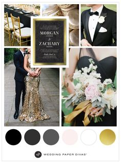 Make your big day glamorous with a black and gold wedding theme. This formal affair is filled with bold black and bright florals for contrast. Black Wedding Themes, Black And White Wedding Invitations, Gold Wedding Colors, Gold Wedding Theme, Black Wedding Invitations, Elegant Wedding Invitations, Wedding Invitation Cards, Wedding Events, Formal Wedding