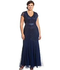 Adrianna Papell Woman Beaded V-Neck Gown