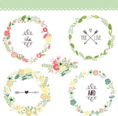 Floral Frame Collection. Set Of Cute Retro Flowers Arranged Un A Shape Of The Wreath Perfect For Wedding Invitations And Birthday Cards Stoc...