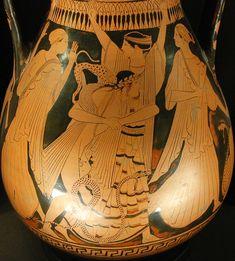 Peleo atrapa a Tetis cuando se transforma en una serpiente. Pintor de Enante, 460 a.n.e.