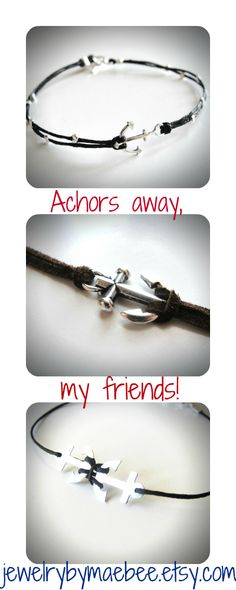 Silver Anchor Bracelets! ...from JewelryByMaeBee on Etsy.