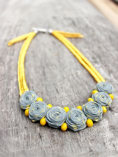Summer Inspiration Collar necklace Rustic Yellow gray necklace