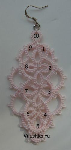Схема 2 слоя кружева Все дуги второго слоя цепляются за пико колец и комбинированных колец первого слоя кружева. * 1 и 9 - Дуги 5п5  * 2, 3, 7 и 8 - Дуги 5п2п2п5  * 4 и 6 - Дуги 5п5  * 5 - Дуга - 2п2п2п2п2п2 * 10 - Верхнее кольцо - 8п8