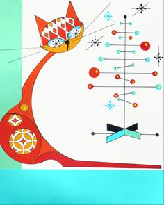 Mid Century Modern Christmas Cat Print 8x10 by COLBYandFRIENDS, $40.00