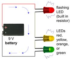 Schematic of a flashing LED in series with two steady LEDs.