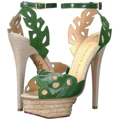 Charlotte Olympia Evangelina (Jungle Green/Natural... ($865) ❤ liked on Polyvore featuring shoes, sandals, high heel shoes, high heel platform sandals, platform shoes, high heeled footwear and wrap sandals