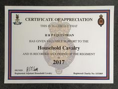We're proud to have given support to the Household Cavalry for 2016 and 2017
