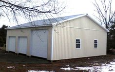 """Building Dimensions: 36' W x 40' L x 12' 4"""" H (ID#: 301) 36' Standard Trusses, 4' on Center, 4/12 Pitch, For More Details: http://pioneerpolebuildings.com/portfolio/project/36-w-x-40-l-x-12-4-h-id-301-total-cost-18752"""