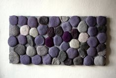 Felted rug with violet and grey stones It is made from wool felt and sewn on ordinary sheets of felt. Stone Rug, Felt Sheets, Victorian Design, All Things Purple, Grey Stone, Grey Rugs, Unique Colors, Colour Schemes, Rug Making