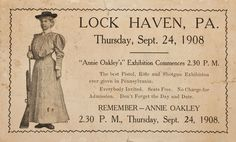 Lock Haven, Wild West Show, Annie Oakley, Old Newspaper, Old Ads, World's Fair, Girl Scouts, Old Photos, Old Things