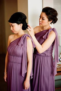 Lavender bridesmaid gowns by Jenny Yoo. Photo by Lisa Lefkowitz.