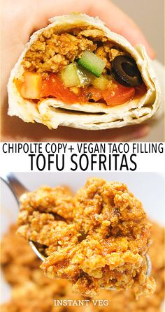 Sofritas is made from tofu spices and salsa. Its the fastest easiest & most delicious vegan taco meat! If you love tacos and arent sure youll like vegan tacos trust me  with this Chipotle-style sofritas recipe youll be licking the plate. #vegantacomeat #vegantacos #sofritas #tofusofritas #sofritasrecipe #tofutacomeat #tofutacos #veganprotein #vegandinners #veganrecipes #vegan Vegetarian Sandwich Recipes, Vegetarian Main Dishes, Vegetarian Lunch, Vegetarian Recipes Dinner, Tofu Recipes, Vegan Dinners, Lunch Recipes, Mexican Food Recipes, Vegetarian Mexican