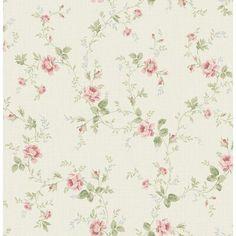 One Allium Way Leela Rose Vines L x W Wallpaper Roll Colour: Cream/Dark Green/Pink