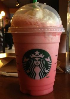 Pink Raspberry Passion Frappuccino! Start with a passion iced tea (or black iced tea if preferred), 2 pumps of raspberry syrup (add extra pumps for larger sizes as desired), Blend like a Frappuccino, Top with whipped cream.