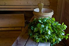 Finnish sauna with the bath whisk (vihta).