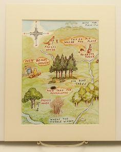 A Map Pooh Bears House Print w/Mat, Vintage & Classic Winnie the Pooh, Nursery Baby Decor (8 x 10 Kids Wall Art). $10.00, via Etsy.