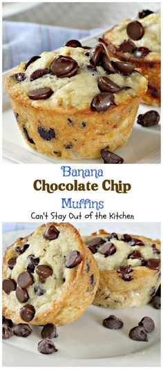Banana Chocolate Chip Muffins – Can't Stay Out of the Kitchen (Breakfast, Snack & Dessert worthy) Banana Dessert Recipes, No Bake Desserts, Just Desserts, Delicious Desserts, Yummy Food, Banana Muffin Recipes, Recipes Using Bananas, Cake Recipes, Easter Desserts