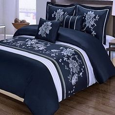 Modern Floral Navy Blue snd White Embroidered Floral 5 piece Duvet Cover and Shams Set King Size with Decorative Pillows. This luxury Egyptian Cotton bedding ensemble features Embroidered White Flowers on a Navy Background and white Blue And White Bedding, Blue Bedding Sets, Luxury Bedding Sets, Luxury Linens, Duvet Bedding, Comforter Sets, Cotton Bedding, Comforter Cover, Cama Floral