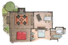 hand rendered floor plan of home